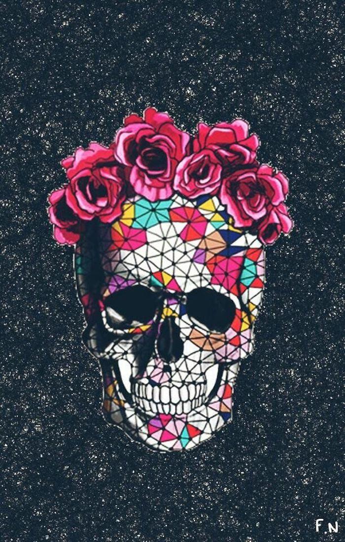 Formidable fond d'écran swag fond d'écran verrouillage fond d'écran pour fille wallpaper fond d'écran crane mexique roses sur la tete