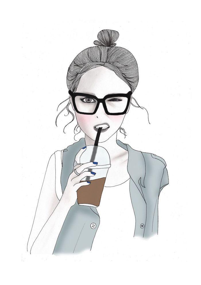 Fond d'écran téléphone fond d'écran verrouillage choisir une photo arriere plan fille dessin fille qui boit du café coiffure chignon haut