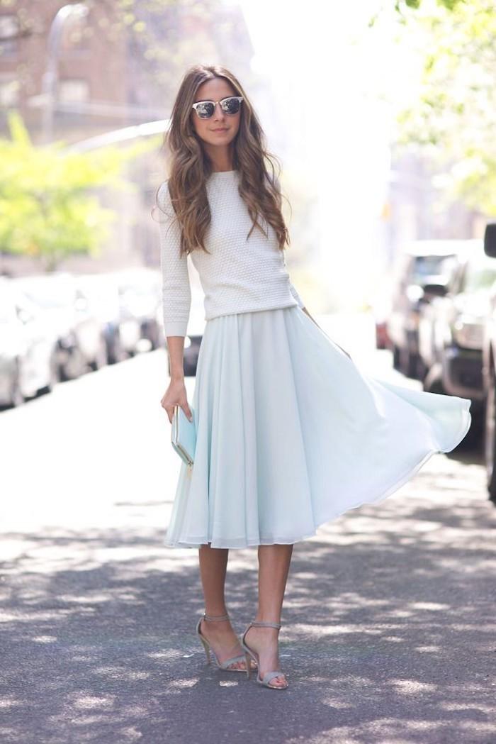 Tenue de fête femme robe de soirée blanche baptême catholique tenue jupe bleue mi longue top avec manches tenue vintage