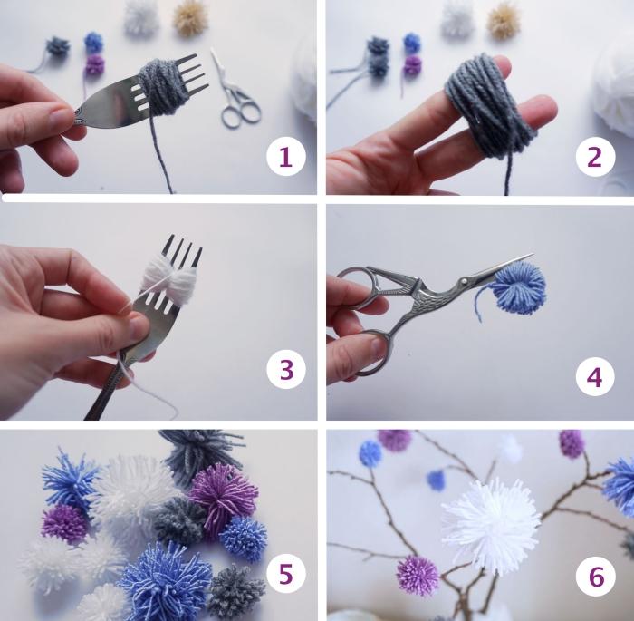 tutoriel pour apprendre à faire un pompon avec une fourchette, modèle d'arbre en branche séchée et pompons