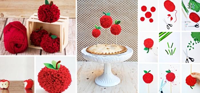 modèles de petites créations à design fruit avec brins de laine, décoration de gâteaux avec pommes rouges en laine
