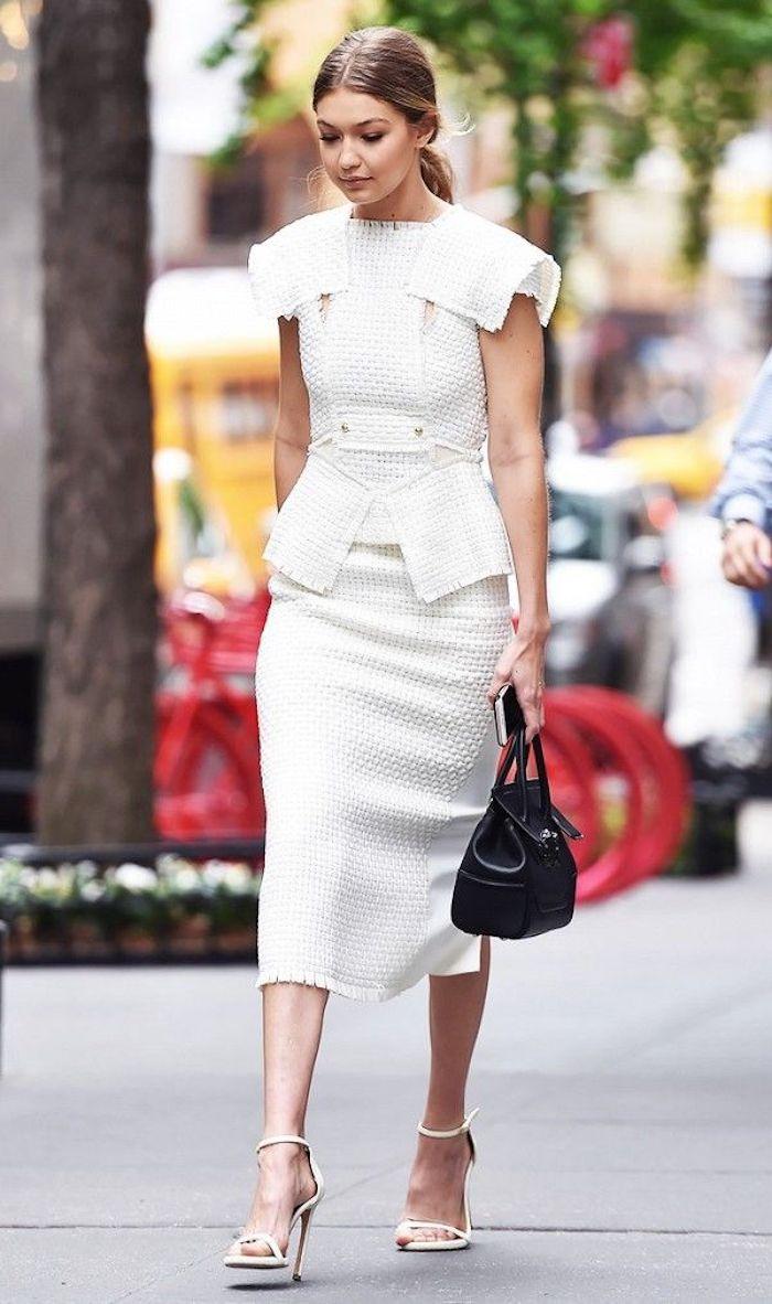 Tenue chic comment s habiller pour un bapteme belle pour toute occasion Gigi Hadid blanche robe vintage adorable