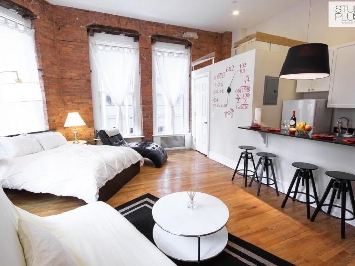 style loft industriel dans un aménagement studio avec cuisine ouverte en blanc et gris, meubles blanc et noir sur plancher de bois marron
