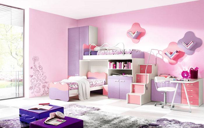 mobilier chambre d enfant rose et violet pour petite fille avec lit superposé pour filles