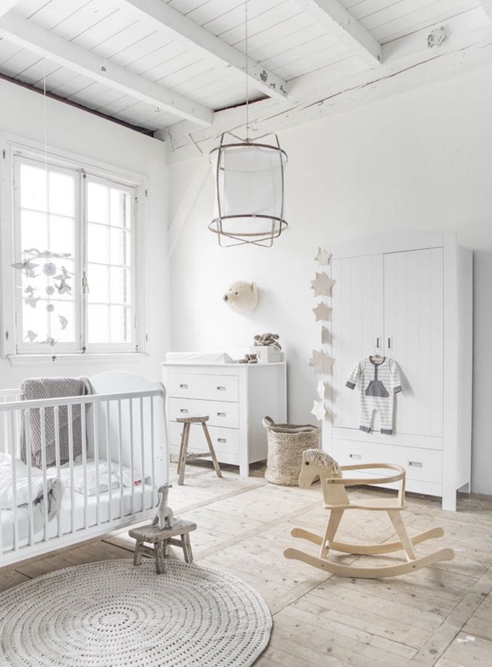 Gallery Of Chambre Bb Scandinave Le Blanc De Linnocence With Parquet Chambre  Fille