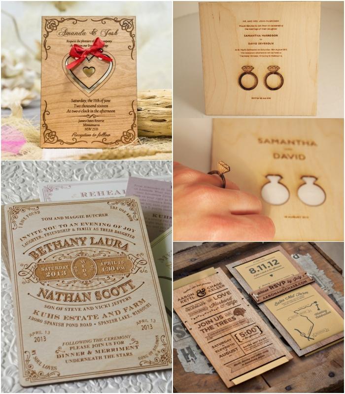 annoncez la nouvelle du mariage avec une carte invitation mariage originale réalisée en bois gravée d'esprit vintage