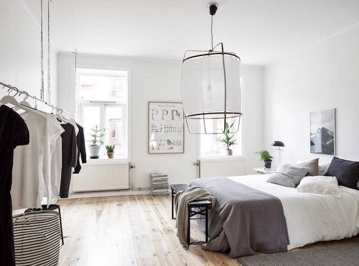 Chambre contemporaine adulte chambre à coucher décoration petite chambre blanc et gris