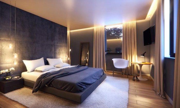 Chambre a coucher design idée déco chambre 2018 intérieur moderne lignes epurees