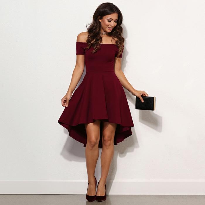 quelle robe de soirée chic habiller pour aller s'amuser avec des amis, courte devant longue derrière