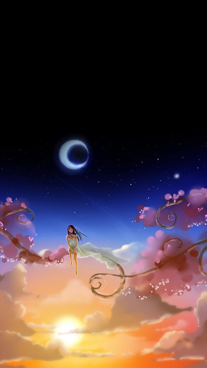 Fond d'ecran verrouillage fond d'écran pour fille image drole idée en image magique pays fille sur branche de nuage