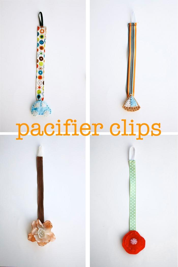 des modèles mignons d'accroche tetine réalisé à la main, pour fille ou garçon, personnalisé avec une décoration en feutrine