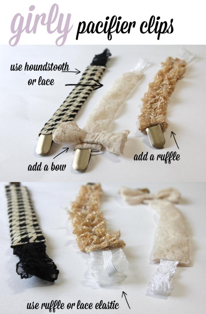 modèles d'attache tétine tissu à motifs variés très facile à personnalisée avec des noeuds et des rubans à volants
