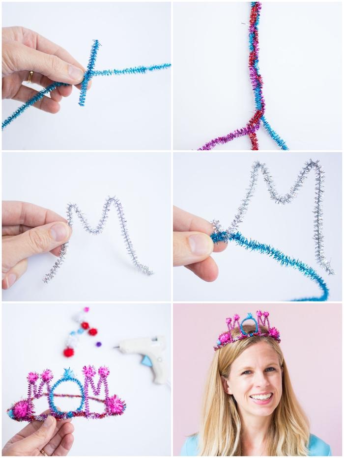 idée de bricolage fête des mères pour tout petit, tuto facile pour réaliser une couronne diy de fils chenille
