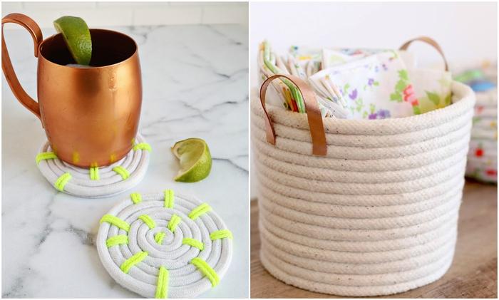 de jolies création en corde une déco maison personnalisé de style bohème chic, bricolage fete des meres pour réaliser des accessoires déco originaux