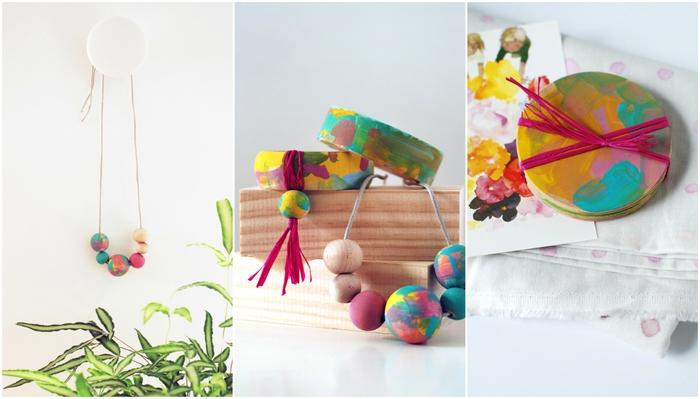bricolage fête des mères maternelle pour réaliser des accessoires originaux, des bijoux en perles de bois peints personnalisés