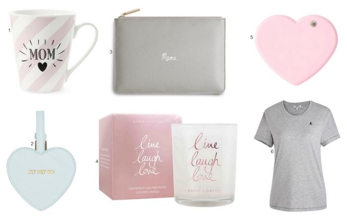 plusieurs idées fantastiques pour choisir un cadeau original pour sa mère, tasse de café personnalisé en blanc et rose design rayé