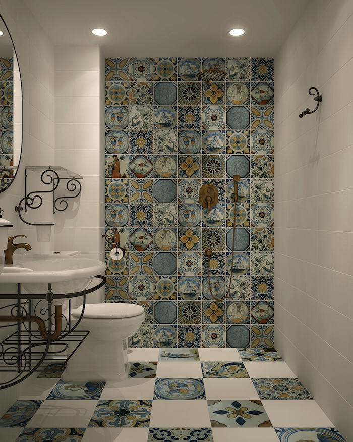 exemple idée carrelage salle de bain douche italienne décorée avec faience