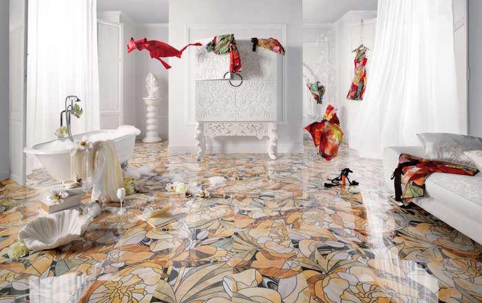 modele carrelage salle de bain motif floral exotique dans grande sdb blanche