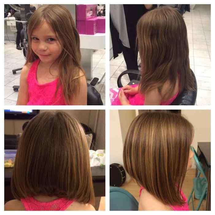 La coupe de cheveux petite fille 3 ans cheveux petite fille coiffure simple photo avant et après la coupe