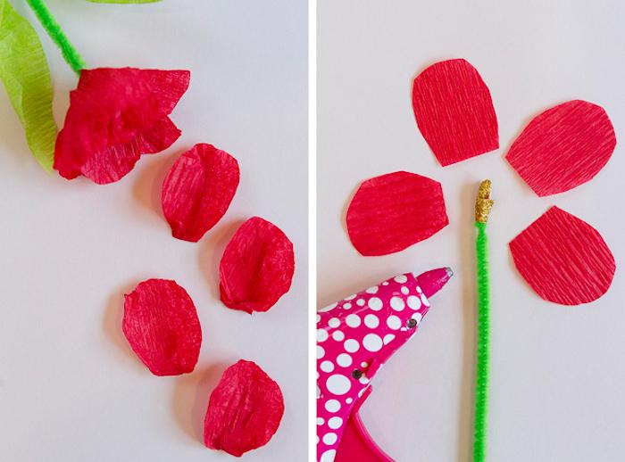 comment faire une fleur en papier crepon avec des pétales papier et tige en cure pipe pour votre carte fête des mères maternelle 3d