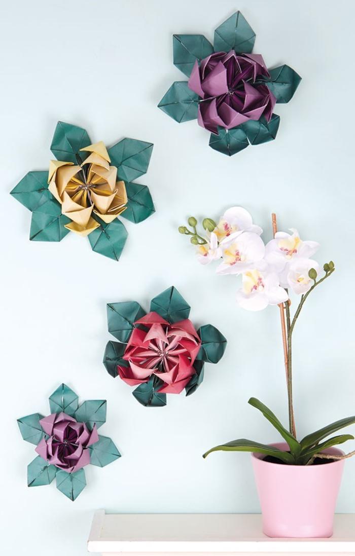 comment réaliser un modèle origami fleur de lotus pour créer une jolie décoration murale au look aérien et printanier
