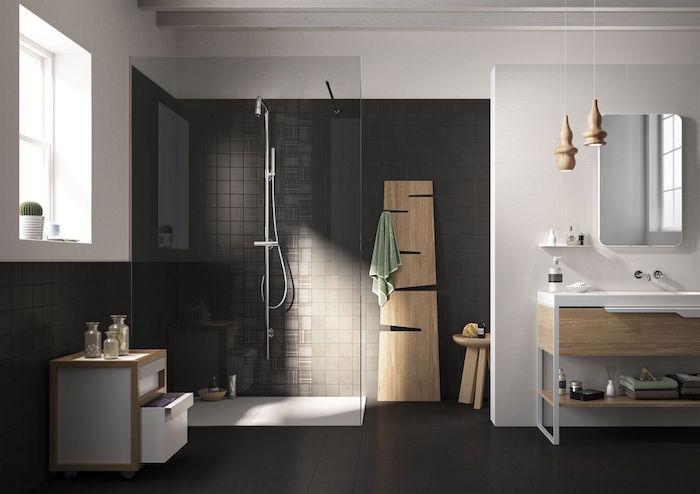 photo de salle de bain tendance carrelage gris anthracite dans sdb minimaliste design avec douche à l'italienne