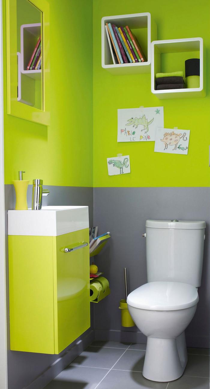 déco wc pour enfants avec couleur vive vert fluo et gris