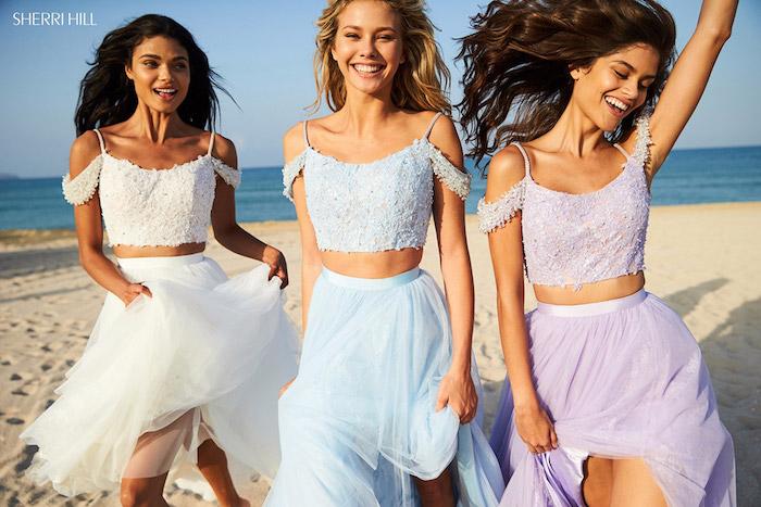 Tendances de mode printemps été idée tenue femme bohème chic moderne style bal de promo robe deux pieces bal de promo