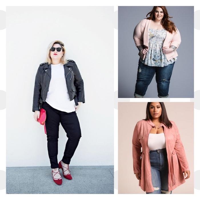 idée comment porter pantalon et jean quand on est ronde, vêtement femme grande taille exemple