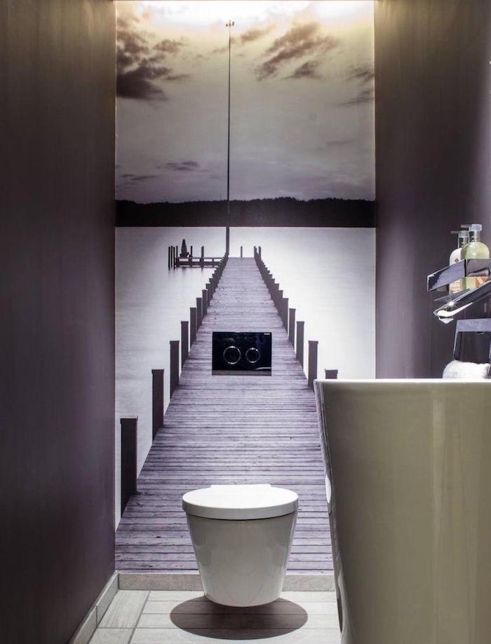 décoration de toilettes zen avec papier peint wc trompe l'oeil de paysage embarcadère