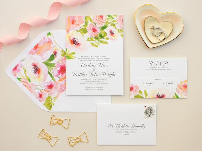 motifs fleuris à l'aquarelle pour un faire part mariage boheme doux et romantique