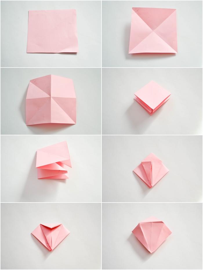 rose en origami tuto facile avec tout le pliage expliqué en images, apprenez à réaliser des mini roses en papier afin de créer une jolie guirlande fleurie