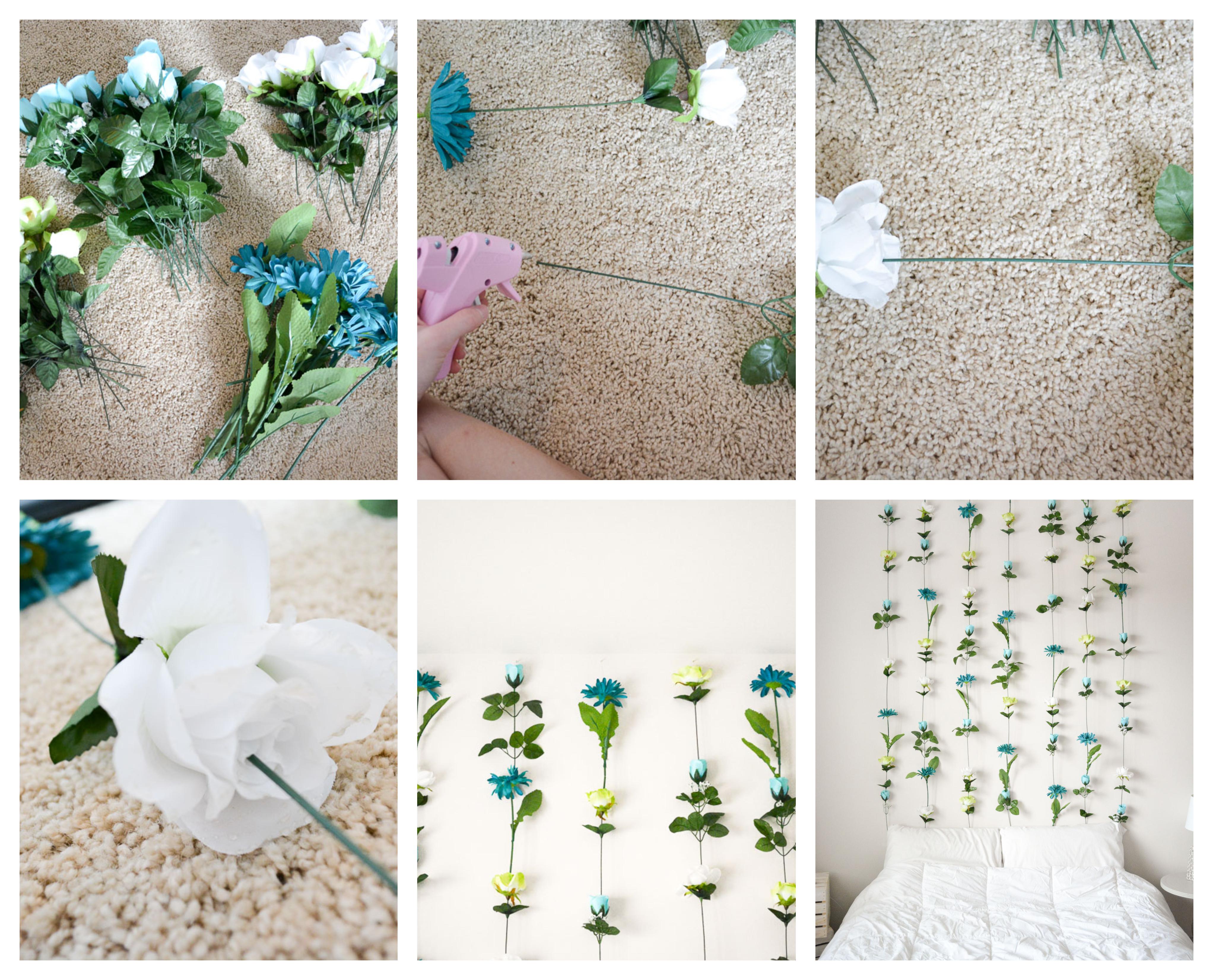 exemple originale comment fabriquer une tete de lit florale de fleurs artificielles collées ensemble, linge de lit blanc