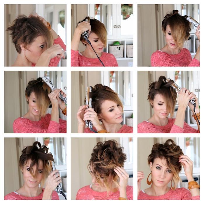 comment faires des boucles avec un lisseur, tuto coiffure cheveux court, mèches ondulés style boheme chic