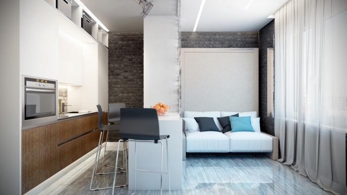 modèle amenagement petit espace avec muret entre la cuisine et la chambre à coucher, design intérieur moderne en blanc et gris
