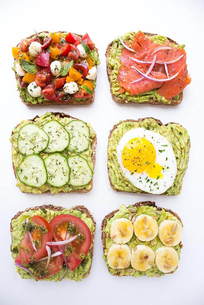 six façons de manger les tartines à base d'avocat, les petits déjeuner les plus tendance pour manger équilibré