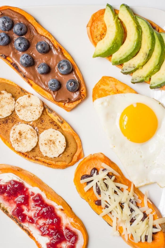 petit déjeuner pour maigrir et manger équilibré, on change du pain avec des tartines de patate douce healthy