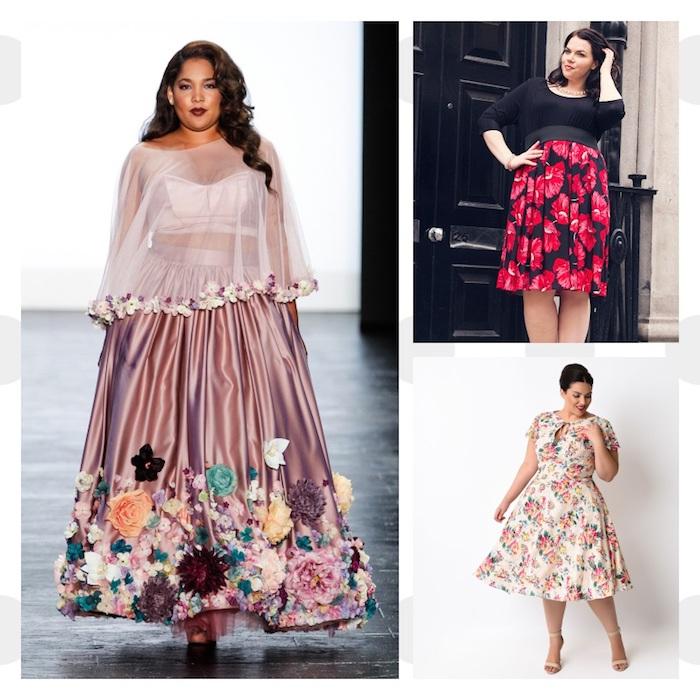 vêtement femme grande taille, ronbe longue et mi long à imprimé fleuri, style décontracté ou élégant