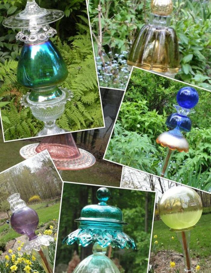 lampes de jardin en verre coloré, décorer son jardin en mille couleurs, illumination économique de jardin, amenagement jardin paysager