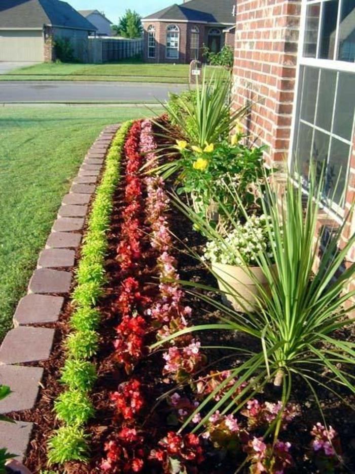 amenagement exterieur, jardin deco, decorer son jardin, de plantes en vert, rouge et jaune disposées de manière a offrir un beau spectacle