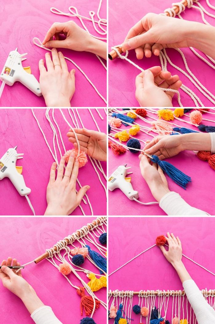 projet créatif pour fabriquer une suspension murale avec pompons et tassels de laine de couleurs variées dans esprit boho chic