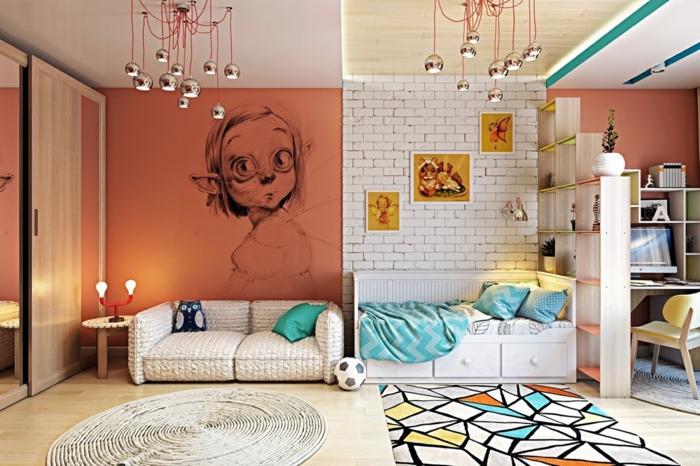 idée pour la déco des murs dans une chambre d'enfant, mur en briques blanches, mur en orange avec personnage de BD, habiller un mur en style arty avec deux tapis différents en style différent dans les deux parties de la chambre