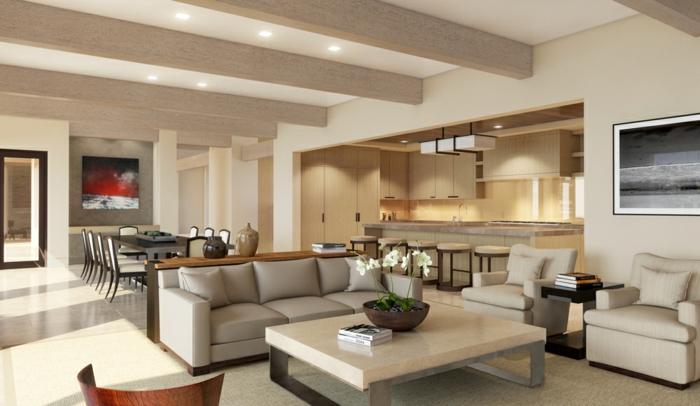 salle à manger et salle de séjour alliés, idee deco salon, table moderne, sofa gris, poutres apparentes, bar de cuisine et table à manger