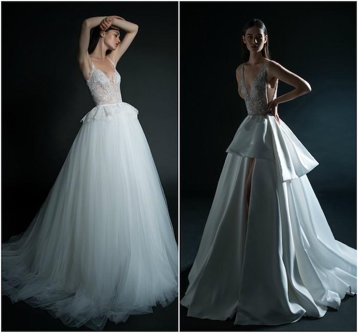 les plus belles robes de mariée d inbal dror, modele de tobe avec jupe en tulle et corsage dentelle transparent et robe blanche avec fente et corsage décoré de pierres