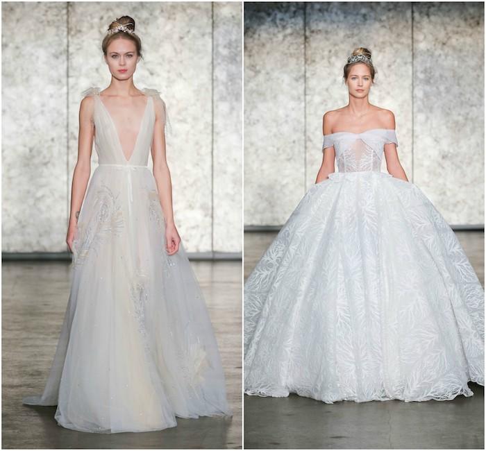 idée de robe de mariée originale inbal dror, deux exemples robe coupe empire transparente et robe princesse avec jupe très évasée et bretelles tombantes