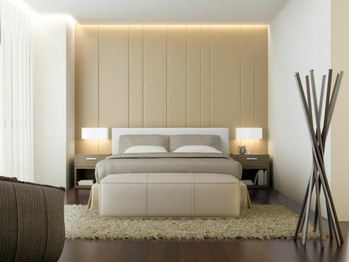 chambre à coucher, lit gris, mur beige, décoration style asiatique, tapis moelleux beige