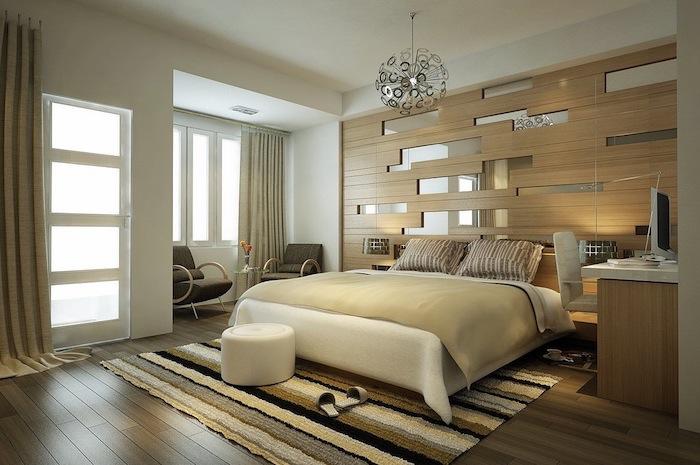 Chambre adulte complete pas cher lit commode intérieur moderne adulte beige et bois