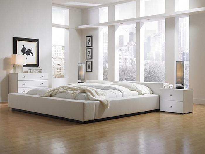 Lit moderne basse blanche meubles chambre complete pas cher moderne décoration en blanc chambre blanche