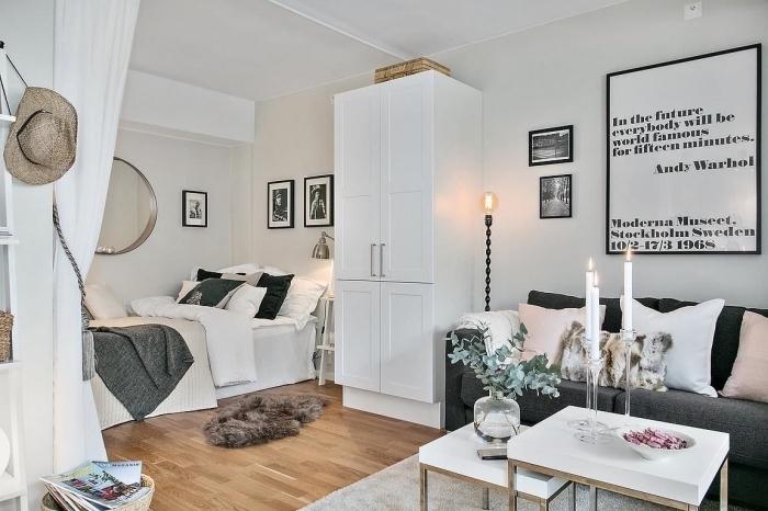 style bohème chic et scandinave avec meubles blanc et gris à finitions bois, modèles de meubles multifonctions pour espace limité