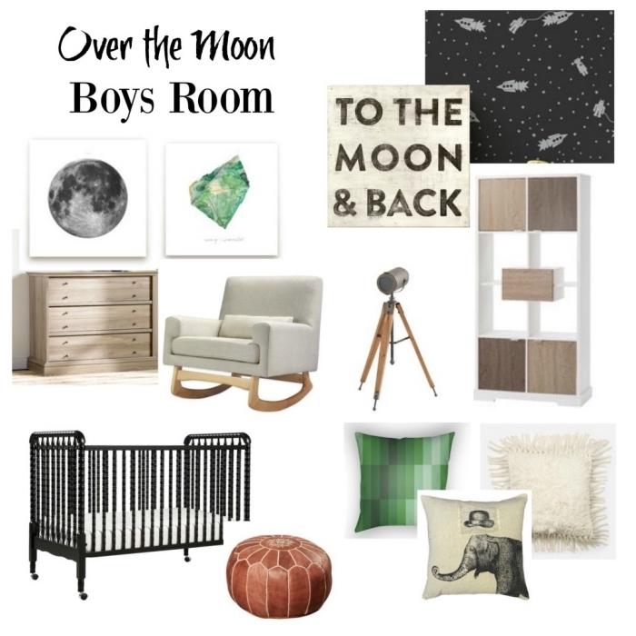 exemples d'accessoires en bois à combiner dans une pièce pour nouveau-né sur le thème la lune en couleurs neutres